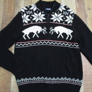 Chaps Snowflake Reindeer Half zip Sweater Medium
